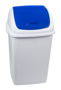 T909055 Polypropylene Swing paper bin White with blue lid 50 liters (multiple 6 pieces)