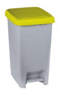 T909966 Pattumiera a pedale polipropilene grigio con coperchio giallo 60 litri (confezione da 6 pezzi)