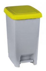 T909976 Grey polypropylene pedal bin with yellow lid 60 liters