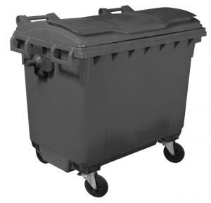 T910660 Grey plastic waste container for outdoor 4 wheels 660 liters GREY without lid