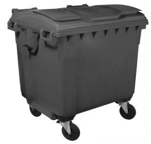 T911100 Grey plastic waste container for outdoor 4 wheels 1100 liters GREY without lid
