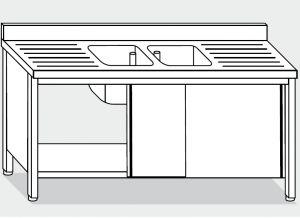 LT1022 Lavatoio su Armadio in acciaio inox 2 vasche 2 sgocciolatoi alzatina 190x60x85