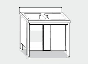 LT1039 Lavatoio su Armadio in acciaio inox 2 vasche alzatina 140x70x85
