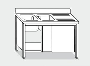 LT1040 Lavatoio su Armadio in acciaio inox 2 vasche 1 sgocciolatoio dx alzatina 140x70x85