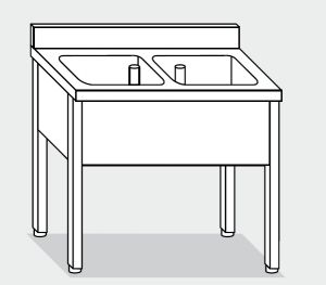 LT1070 Lavatoio su Gambe in acciaio inox 2 vasche alzatina 140x60x85