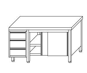 TA4025 Tavolo armadio in acciaio inox con porte su un lato e cassettiera SX 140x60x85