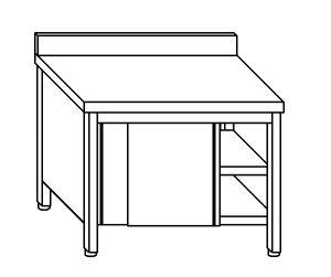 TA4044 Tavolo armadio in acciaio inox con porte su un lato con alzatina 160x60x85