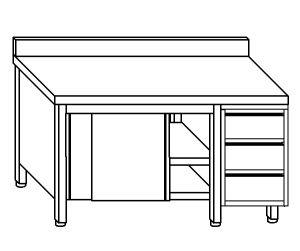 TA4053 Tavolo armadio in acciaio inox con porte su un lato, alzatina e cassettiera DX 180x60x85