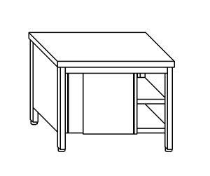 TA4076 Tavolo armadio in acciaio inox con porte su un lato 130x70x85
