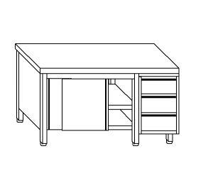 TA4087 Tavolo armadio in acciaio inox con porte su un lato e cassettiera DX 170x70x85