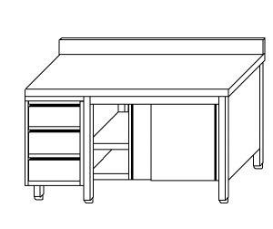 TA4132 Tavolo armadio in acciaio inox con porte su un lato, alzatina e cassettiera SX 160x70x85