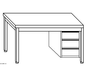 TL5024 Tavolo da lavoro in acciaio inox AISI 304 cassettiera dx 120x60x85