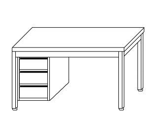 TL5036 Tavolo da lavoro in acciaio inox AISI 304 cassettiera sx 80x60x85