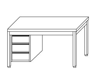 TL5040 Tavolo da lavoro in acciaio inox AISI 304 cassettiera sx 120x60x85