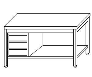 TL5096 Tavolo da lavoro in acciaio inox AISI 304 cassettiera sx ripiano 200x60x85