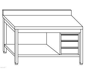 TL5163 Tavolo da lavoro in acciaio inox AISI 304 cassettiera dx alzatina ripiano 70x60x85
