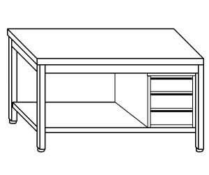 TL5263 Tavolo da lavoro in acciaio inox AISI 304 cassettiera dx ripiano 110x70x85
