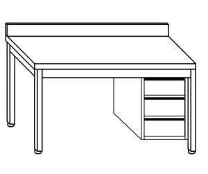 TL5309 Tavolo da lavoro in acciaio inox AISI 304 cassettiera dx alzatina ripiano 90x70x85