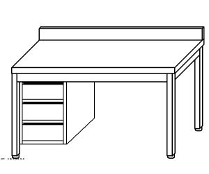 TL5330 Tavolo da lavoro in acciaio inox AISI 304 cassettiera sx alzatina 140x70x85