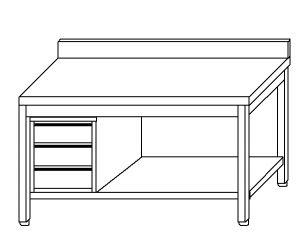 TL5381 Tavolo da lavoro in acciaio inox AISI 304 cassettiera sx alzatina ripiano 170x70x85