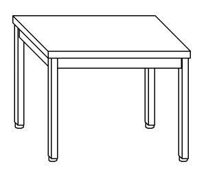 TL8003 Tavolo da lavoro in acciaio inox AISI 304 su gambe dim. 80x80x85 cm (prodotto in italia)