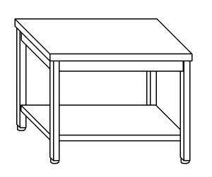 TL8025 Tavolo da lavoro in acciaio inox AISI 304 su gambe e un ripiano dim. 140x80x85 cm (prodotto in italia)