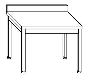 TL8037 Tavolo da lavoro in acciaio inox AISI 304 su gambe con alzatina dim. 120x80x85 cm (prodotto in italia)