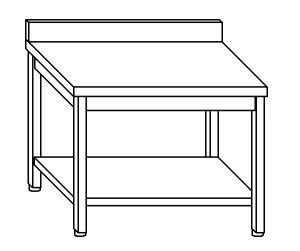 TL8054 Tavolo da lavoro in acciaio inox AISI 304 su gambe con alzatina e ripiano dim. 130x80x85 cm (prodotto in italia)