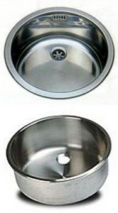 LV036/A round inset stainless steel sink diam. 360x180h With waste fitting