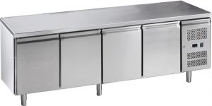 G-GN4100BT-FC Tavolo refrigerato ventilato in acciaio inox AISI 201, 4 porte, -18 / -22 °C