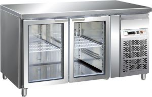 G-GN2100TNG - Ventilated Refrigerated Table GN1 / 1 Temp + 2 / + 8 ° C Glass Door