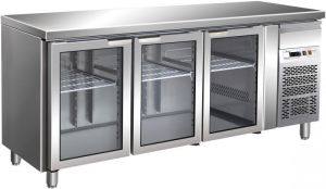 G-GN3100TNG - Ventilated refrigerated table. Temperature +2/+8°C  - Three glass doors