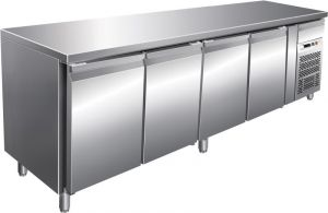 G-GN4100BT - AISI304 stainless steel ventilated refrigerated counter table 4 doors
