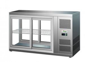 G-HAV111 Refrigerated stainless steel refrigerated display case sliding doors on both sides