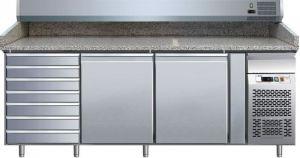 G-PZ2610TN - Tavolo refrigerato e banco pizza  ventilato in acciaio AISI304 con 2 ante