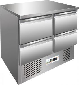 G-S901-4D - Tavolo refrigerato saladette, struttura inox AISI304, quattro cassetti