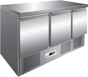 G-S903TOP - Refrigerated Refrigerated Table. Stainless steel worktop. 3 Doors