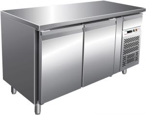 G-SNACK2100TN - Ventilated stainless steel refrigerated table - 2 doors