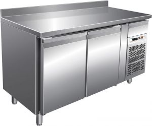 G-SNACK2200TN - Ventilated stainless steel refrigerated table - 2 doors with upstand