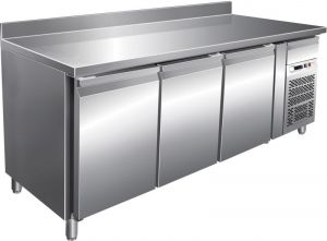 G-SNACK3200TN - Ventilated stainless steel refrigerated table - 3 doors with upstand