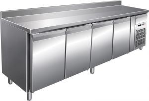 G-SNACK4200TN - Ventilated stainless steel refrigerated table - 4 doors with upstand