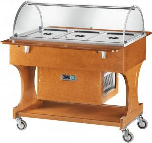 CLR2788N Wooden refrigerated trolley (+2°+10°C) 3x1/1GN plx cover