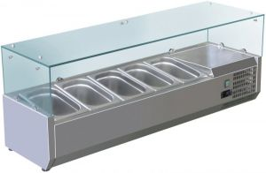 VRX1200-330-FC AISI 201 stainless steel refrigerated display case for basins