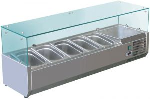 VRX1400-380-FC  AISI 201 stainless steel refrigerated display case for basins