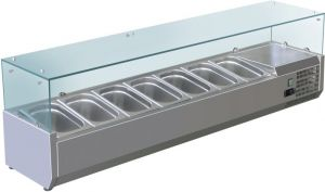 VRX1500-330-FC AISI 201 stainless steel refrigerated display case for basins