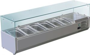 VRX1500-380-FC AISI 201 stainless steel refrigerated display case for basins