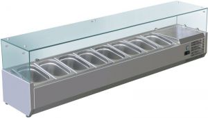VRX1800-380-FC AISI 201 stainless steel refrigerated display case for basins