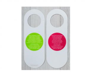 """HY-0642 Cartellino """"Non Disturbare"""" - """"Rifare la Camera"""" Rosso-verde cartoncino plastificato  Dim. 8,2X19 cm  125 pezzi"""