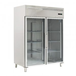 G-GN1410TNG-FC Ventilated Refrigerated Cabinet GN 2/1 - Double Glazed Glass Door - Lt 1300