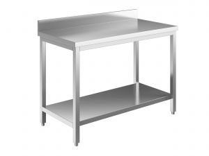EUG2317-16 tavolo su gambe ECO cm 160x70x85h-piano con alzatina - ripiano inferiore